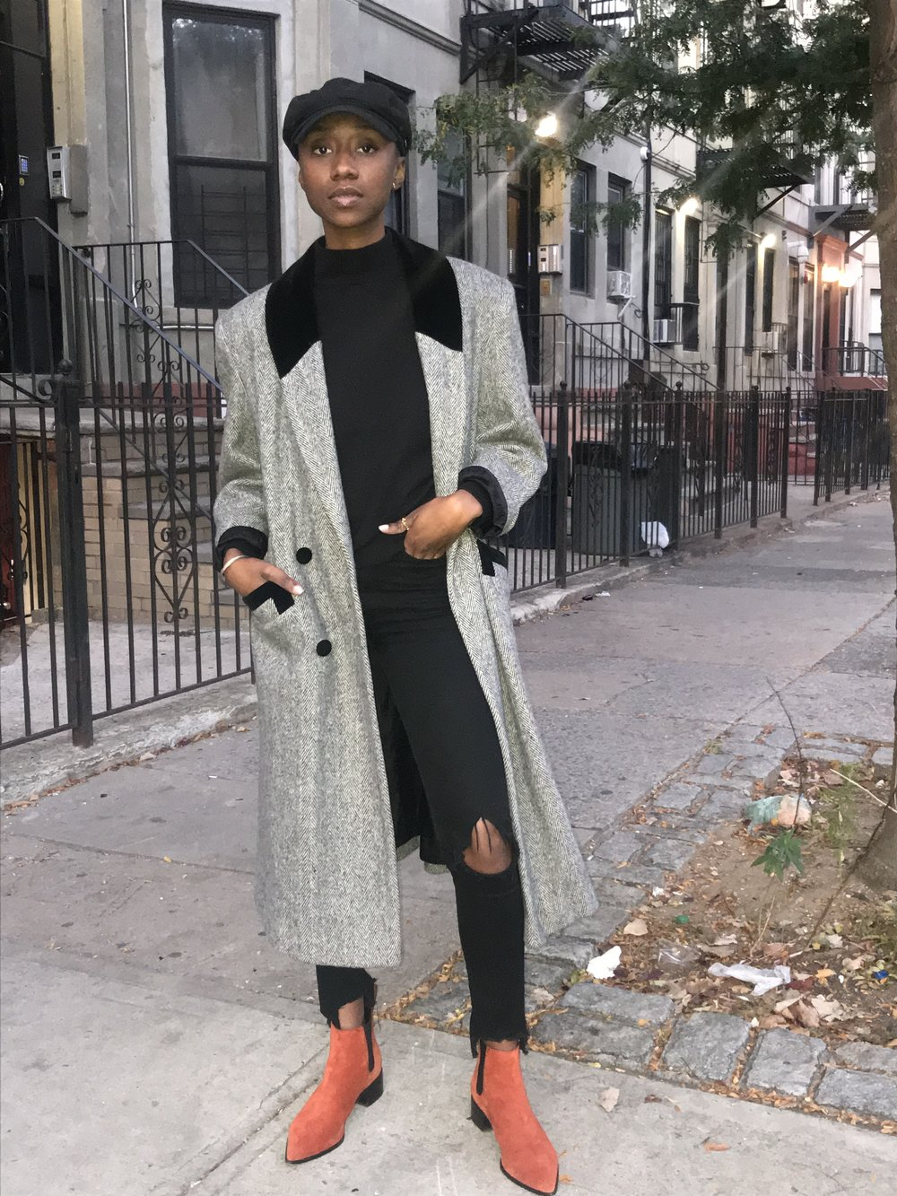 - Thrifted Gray wool Coat, Express Mens sweater, Loeffler Randall Nellie Chelsea Boot, Urban Outfitters Brixton Fiddler fisherman hat