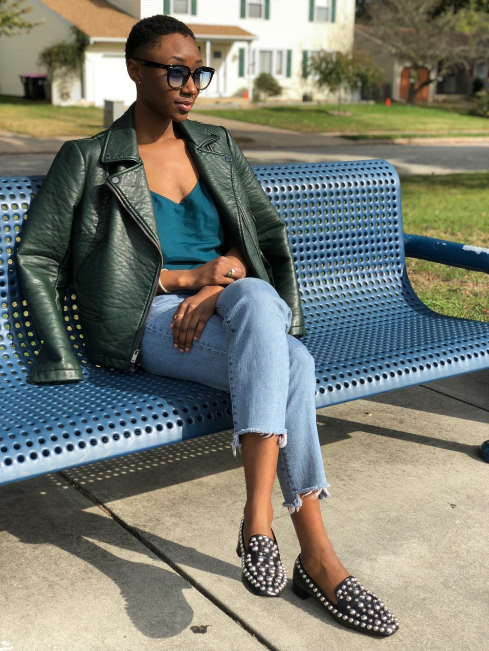 - Thrifted silk top from many moons ago, Forest green leather jacket, Zara studded leather loafers