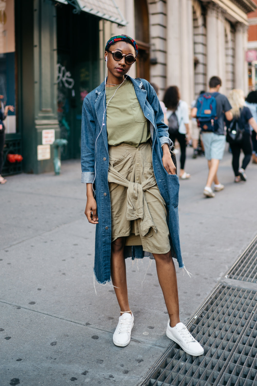 Olive in The City  - Urban Outfitters UO Cross dyed Stevens button down shirt (worn as a skirt), Denim long jacket, American Apparel fine jersey crewneck pocket tee, Zara Trafaluc white sneakersPicture taken by: David Lou
