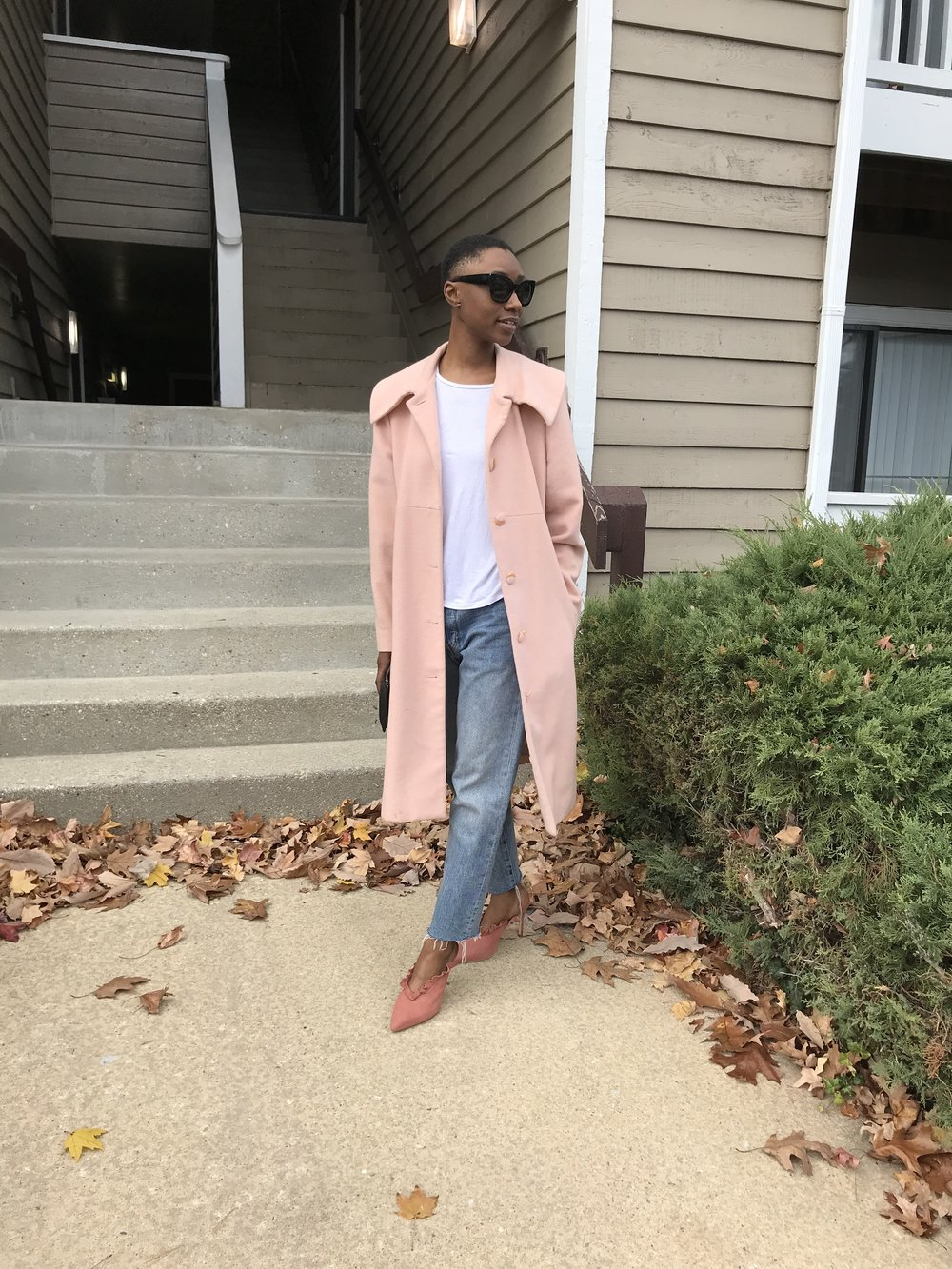 Sundays in Silver spring - Coat: Gifted ASOS crew neck in slim fit rib,H&M mens cropped relaxed skinny jeans,Loeffler Randall Langley Ruffle Mule