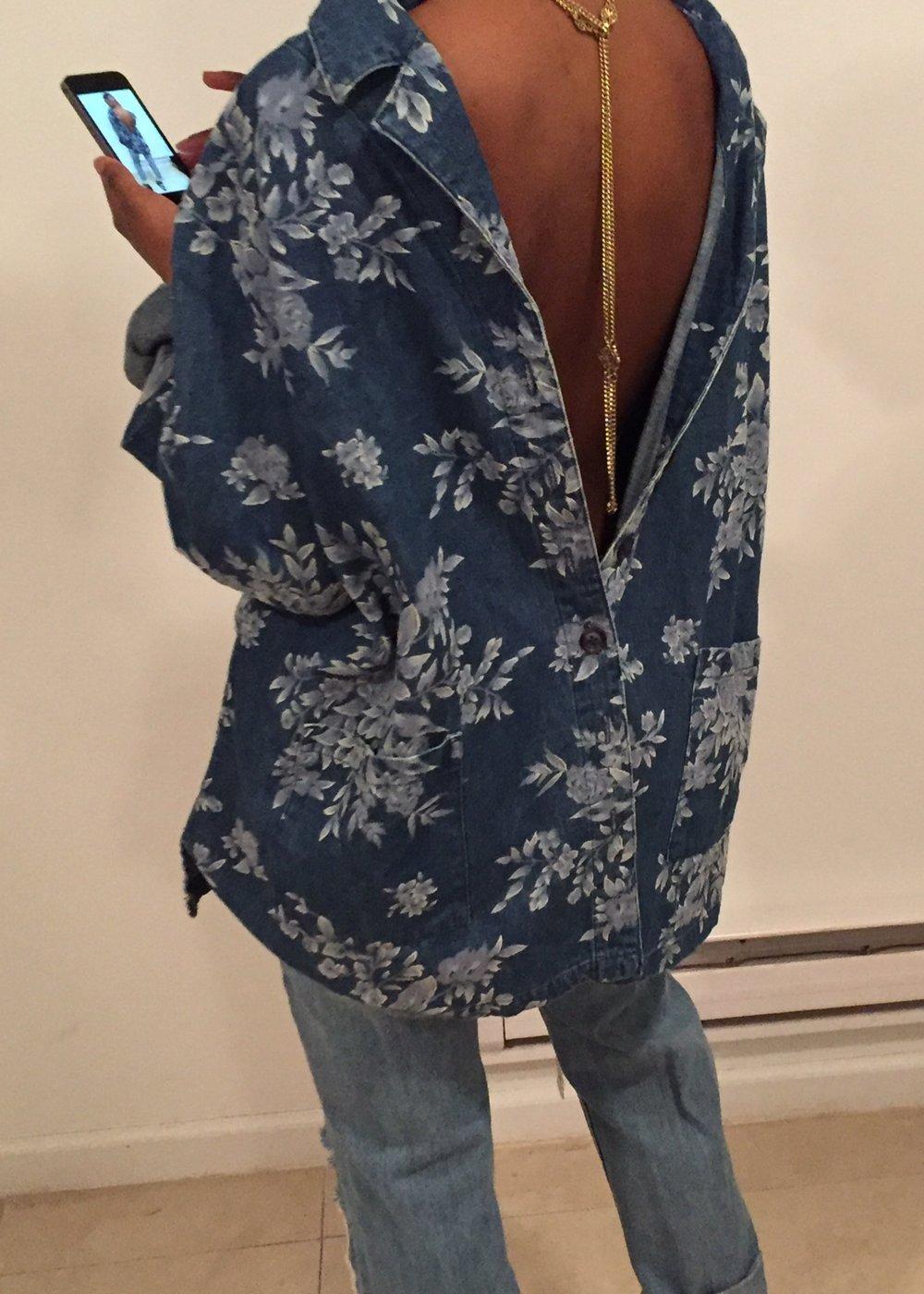 Denim on Denim - All items thrifted floral printed denim jacket(worn backwards), gold chain