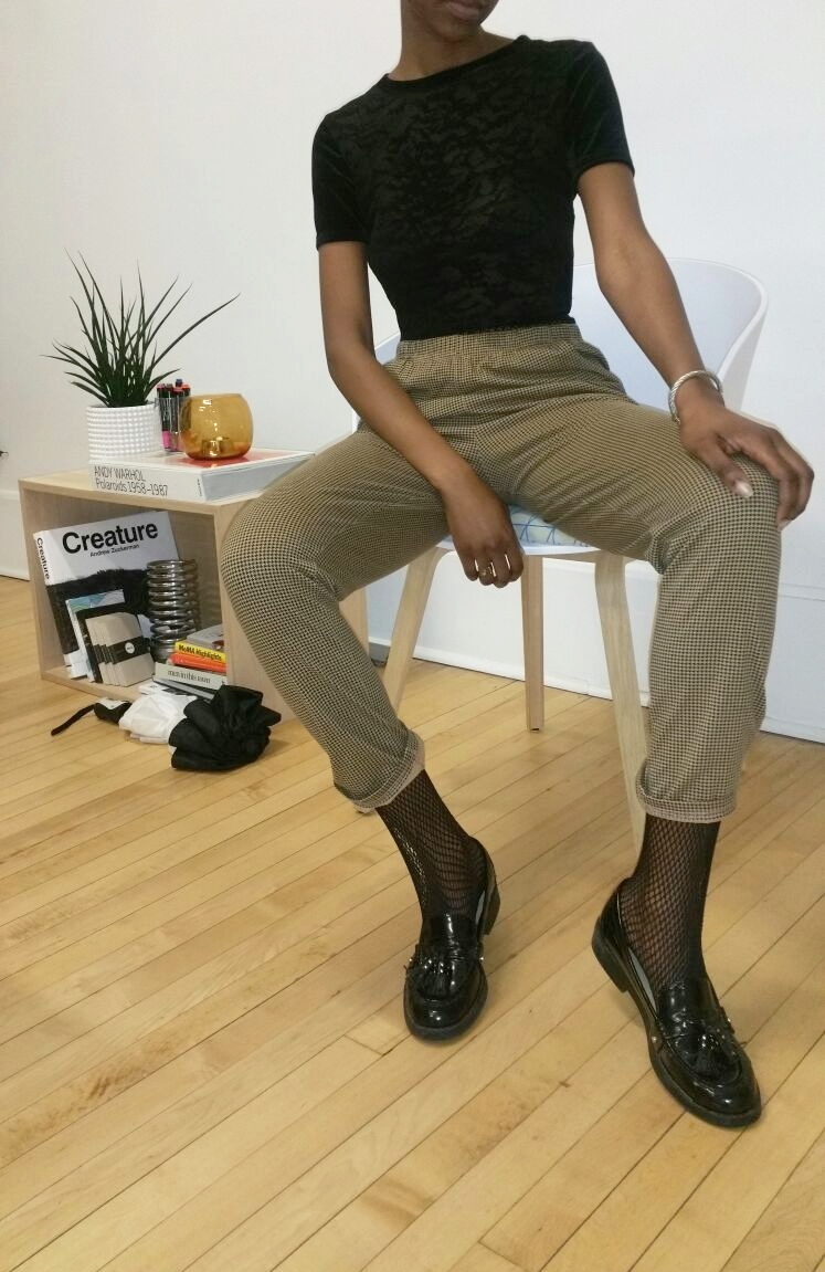In my Workspace - Zara flat black penny loafers with fringe, Fishnet stockings, Trousers from a local goodwill near you, Urban renewal recycled velvet cropped top Urban Outfitters