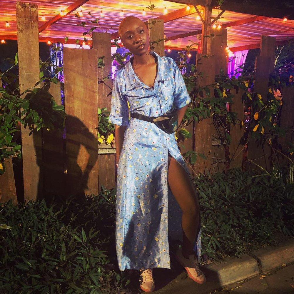 Shirt dress - Tanentama Silk powder blue printed dress, Puma smash platform frill sneakers, Berksha transparent vinyl belt bag