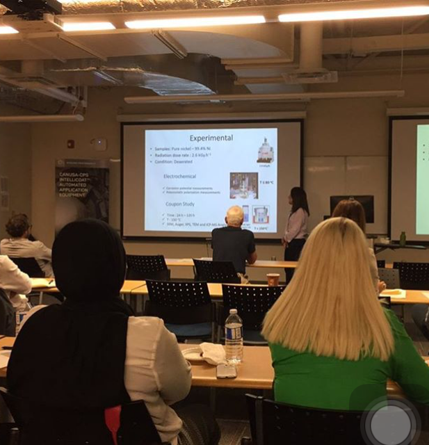 RoseKarimihaghighi giving an oral presentation at the NACE student conference, 2017.