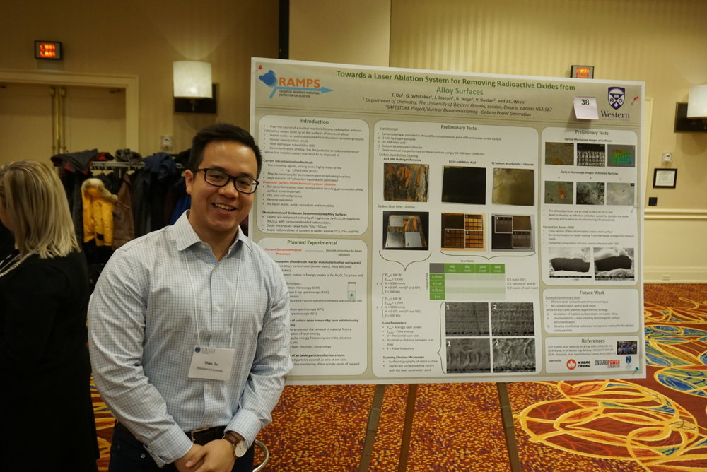Graduate student Thao Do in front of his poster at the UNENE meeting, December, 2017.
