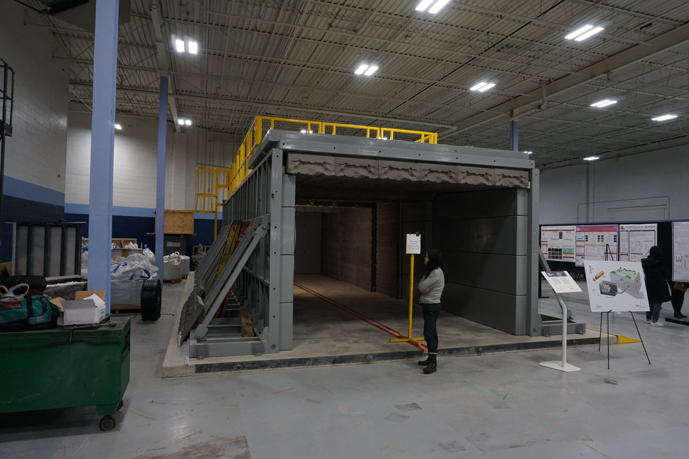 Mock-up of an emplacement tunnel for spent fuel containers at NWMO's Proof Test Facility.
