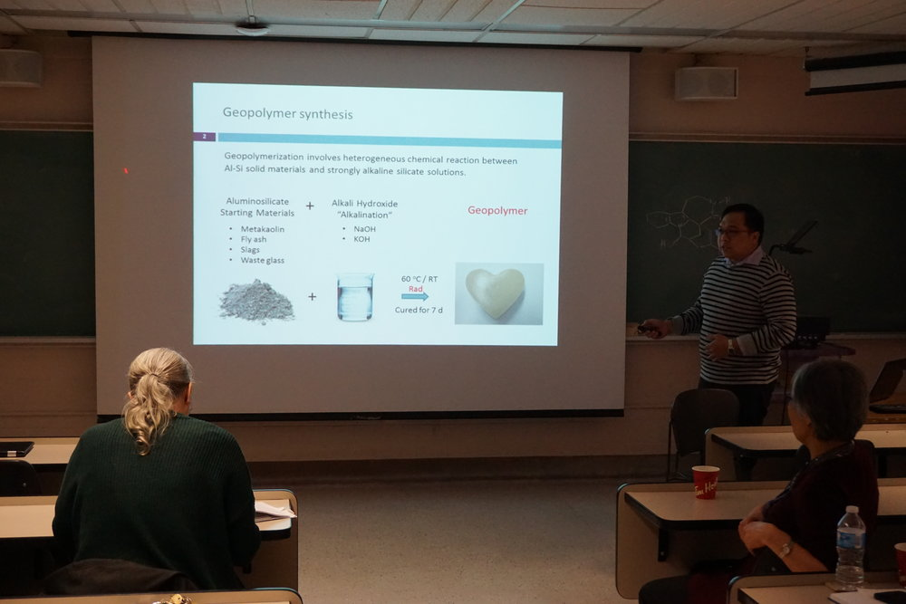 PhD candidate Ryan Morco  giving a presentation on his research progress at the OPG research update meeting, April, 2018.