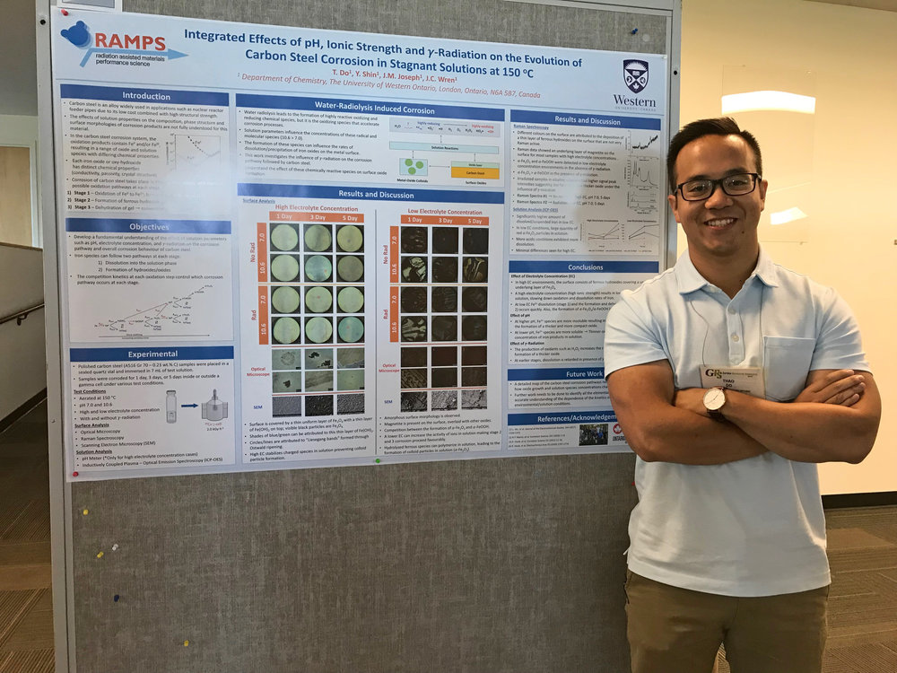 Graduate student Thao Do in front of his poster at the 2018 Aqueous Corrosion Conference GRC.