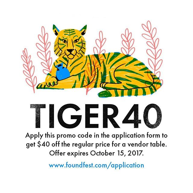 Calling makers, designers and artisans! Drop this promo code to get the super duper early bird pricing to be part of our market this November. $75 😱 - that's $40 off the regular fee($115)! Sign up now by clicking the link in our bio 👉 TIGER40  #foundfestto #localartisttoronto #makersgonnamake #torontomakers #torontofestival #torontoart #torontomarket #handmade #torontolife #torontobloggers #torontodesign #torontoartist