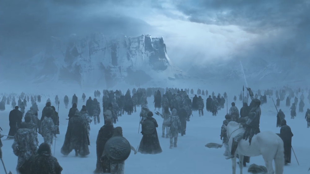 Game of Thrones- White Walkers and their zombie army : http://betterlivingthroughbeowulf.com/wp-content/uploads/2016/06/White-Walkers.png