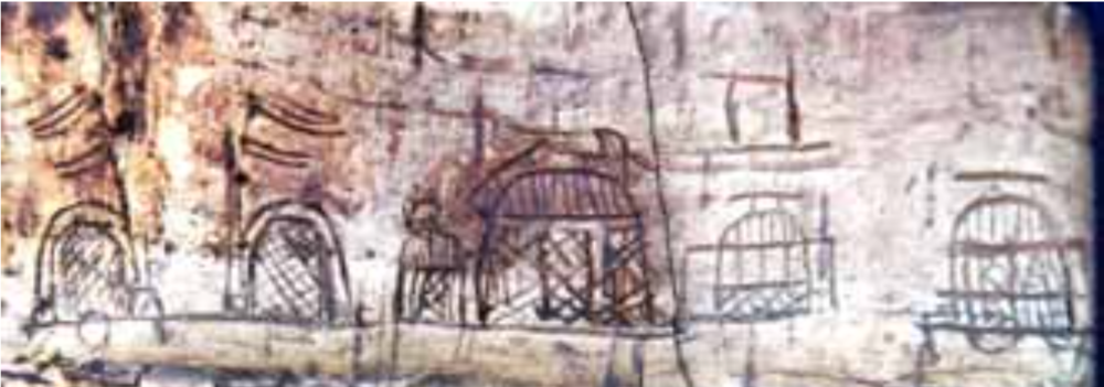 Fig. 1 Tents and carts on birch-bark container, Tomb 7, Tsaram (Source 1)
