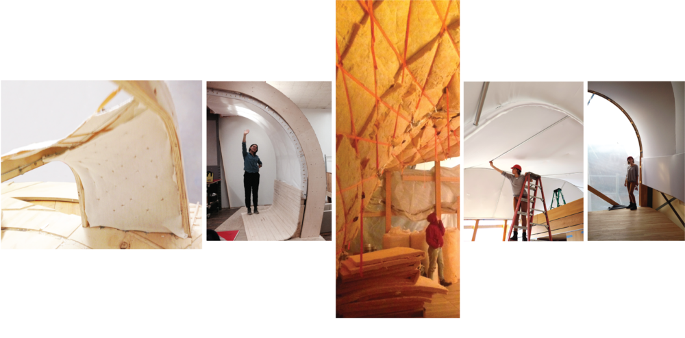 Fig. 3) Concept model of modular textile wall assembly , Fig. 4) Full scale mock up of textile wall assembly, Fig. 5) Installing fiber glass insulation in woven ratchet strap configuration, Fig. 6) Installing interior Showtex M1 first rated knit, Fig. 7) Final instillation of interior textile.