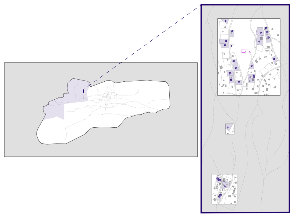 Figure 3: Map of UB, zooming in on EcoTown Ger District Community where insights were collected from 18 families.  Pink  building is EcoTown's head quarters, and 18 families interviewed are represented in  Blue.