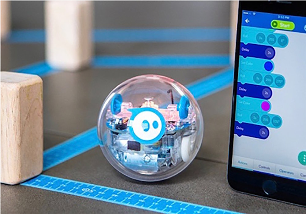 All students have their own rolling robots and learn to code with them them during POGO weeks.