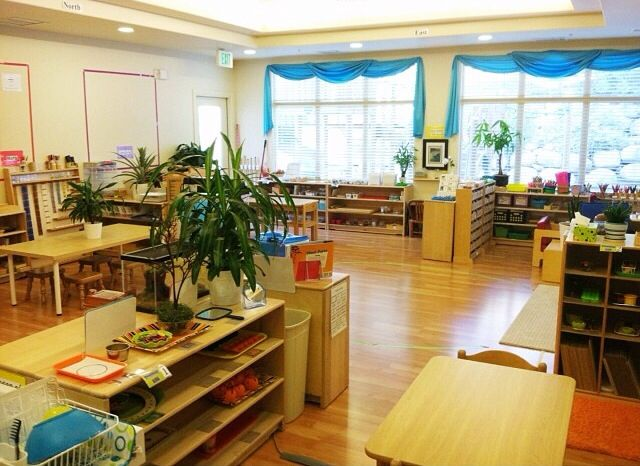 An example of a montessori upper elementary classroom. Notice the natural lighting and wood furniture, open floor space and a choice of seating. Photos of odyssey heights school for girls classrooms will be available in mid-august, 2018.