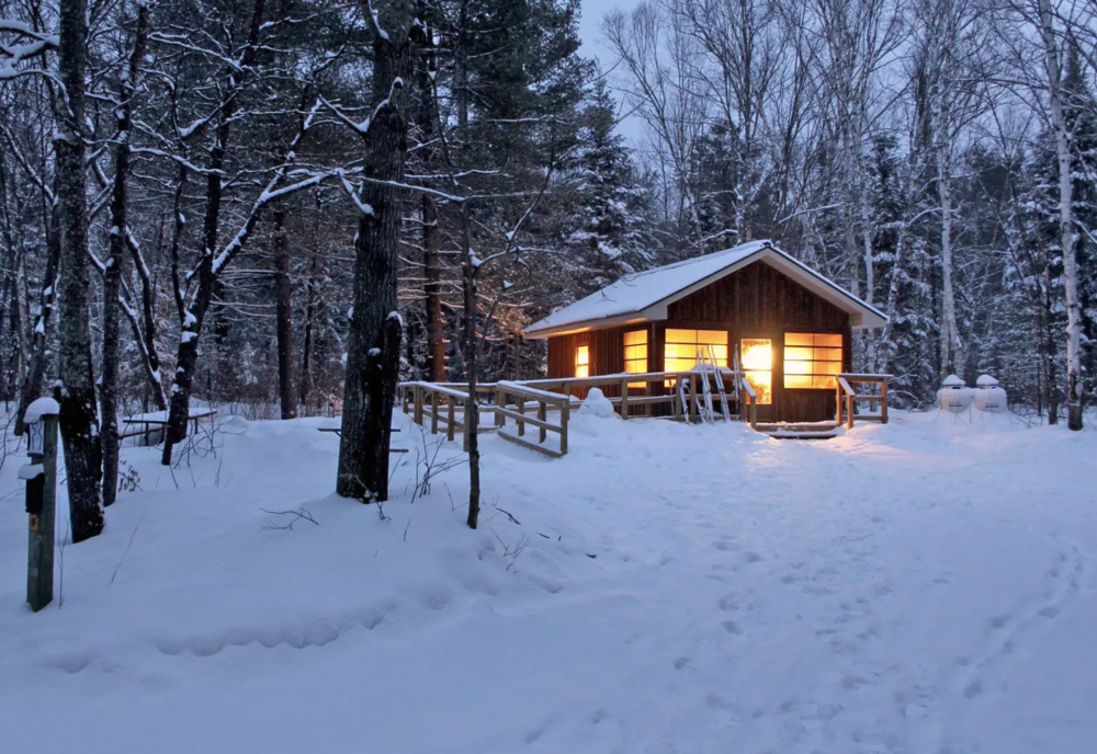 The cozy heated cabins at arrowhead provincial park are a peaceful place to gather, rest, cook, eat, and sleep after activity filled days.