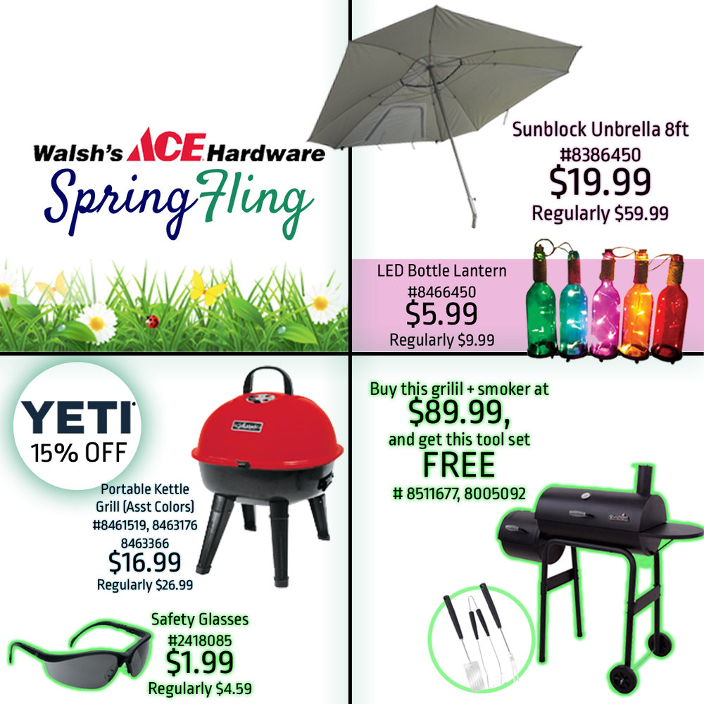 We are having huge sales on select grilling supplies, gardening supplies, tools, and lawn decor.
