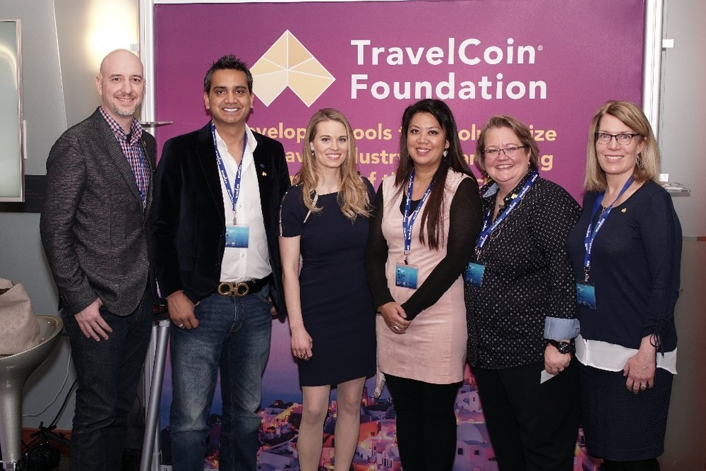 From left to right ( 从左至右 :  Jason Sosnowski, Chief Technology Officer of TravelCoin Foundation; Atif Kamran, President & Founder of MyTravelBiz; Perianne Boring, Founder & President of Chamber of Digital Commerce; Geraldine Aquino, Founder & CEO of MyTravelBiz; Kate Guimbellot, Executive Director of TravelCoin Foundation; Lisa Salinas, Chief Operations Officer of TravelCoin Foundation.