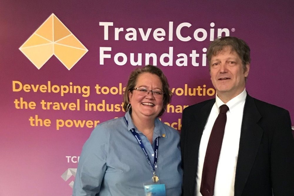 From left to right ( 从左至右 :  Kate Guimbellot, Executive Director, TravelCoin Foundation; Mr. Rick Shaddock, Executive Director of the Digital Currency Association and a US Bitcoin Amabassador.