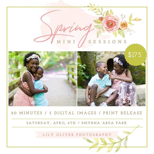 The weather is getting warmer and it's the perfect time for fresh new photos of your kids/family! . . Book your Spring Mini Sessions! Only 5 spots left! $100 non-refundable retainer to secure your slot. Link in bio to book! 🌸🌺🌷 . #atlantaminisession #atlantafamilyphotographer #springminisessions #spring2019 #atlantamom #atlantablogger #mommybloggers #atlantababyphotographer #atlantababyshower #atlantafamily #woodwardacademy #westlakehighschool #northatlantahighschool #mariettaphotographer #georgiaphotographer #blackphotographers #latinaphotographer