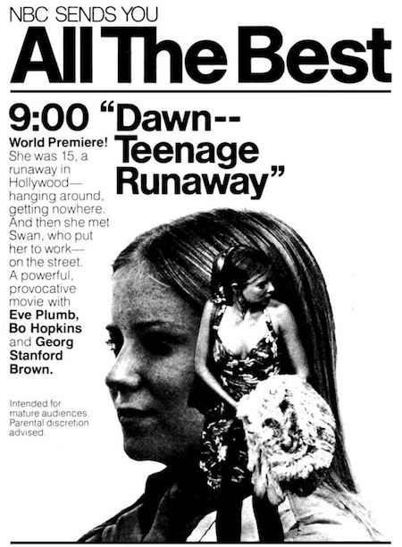 """Dawn: Portrait of a Teenage Runaway,"" 1976 (promo)"