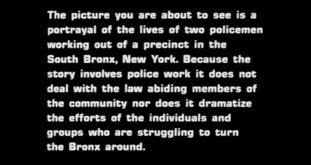Fort Apache, The Bronx, 1980 (title card)