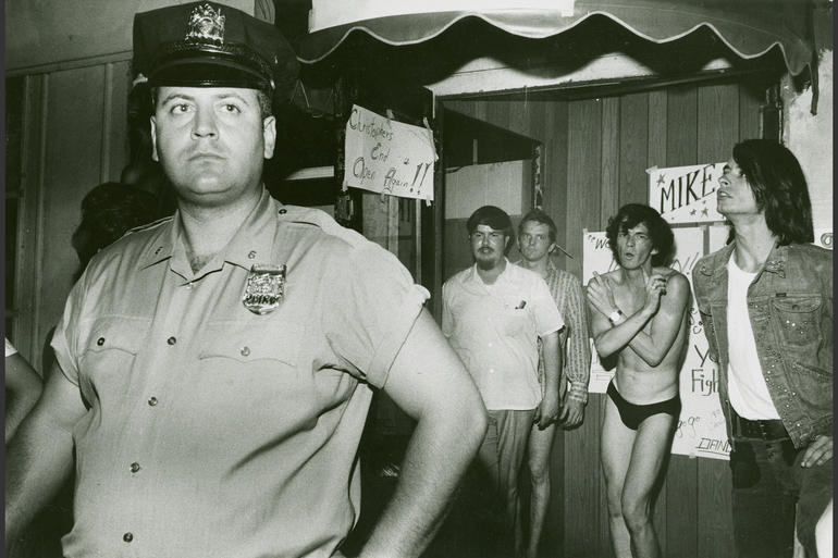 A Gay Activist Alliance protest march and demonstration against mafia-controlled gay bars and police harassment / August 1971.