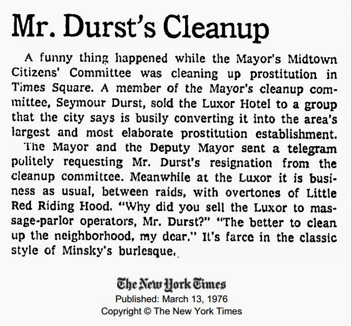 "March 13, 1976, New York Times, ""Mr. Durst's Cleanup"""