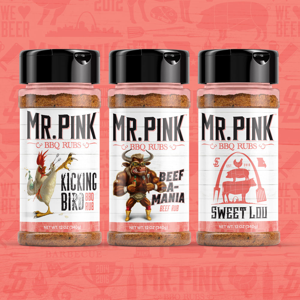 Mr. Pink BBQ Rub 3 Pack Sampler - Do your meat, yourself, and your palate a favor and try ALL THREE Mr. Pink BBQ Rubs!  Developed by award-winning Grand Champion Grill Masters.LEARN MORE »