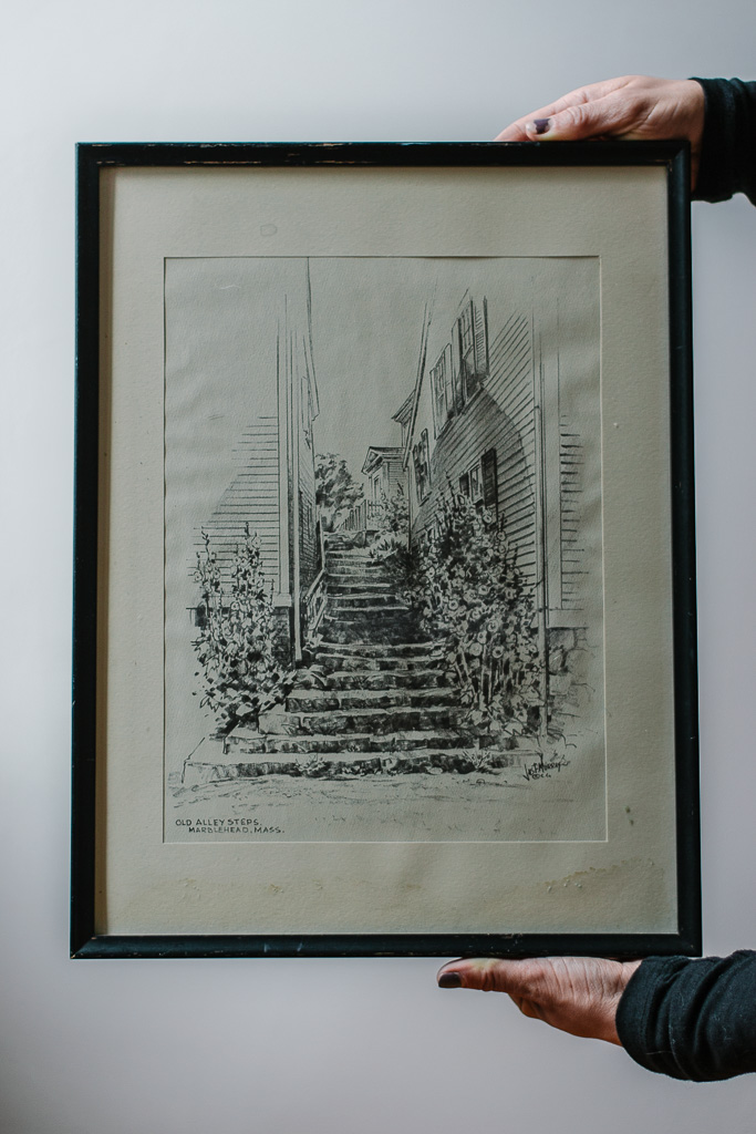 """Old Alley Steps. Marblehead, Mass."" Artist unknown. Water damage. Found in Maine. This piece of art is specifically special to me because I specifically grabbed it from a pile of dozens, and the moment I saw it I knew exactly where the stairs were located. I grew up in that area."