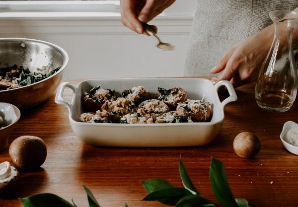 Vegan Stuffed Mushrooms with Olives + Kale
