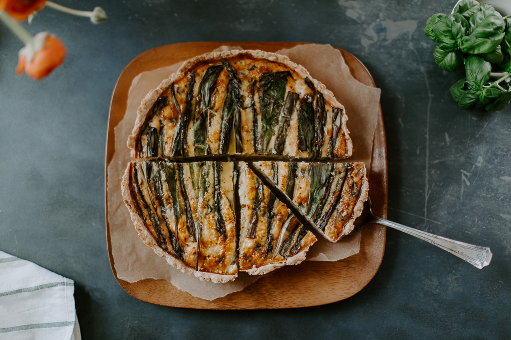 Ramp, Purple Asparagus, & Potato Quiche