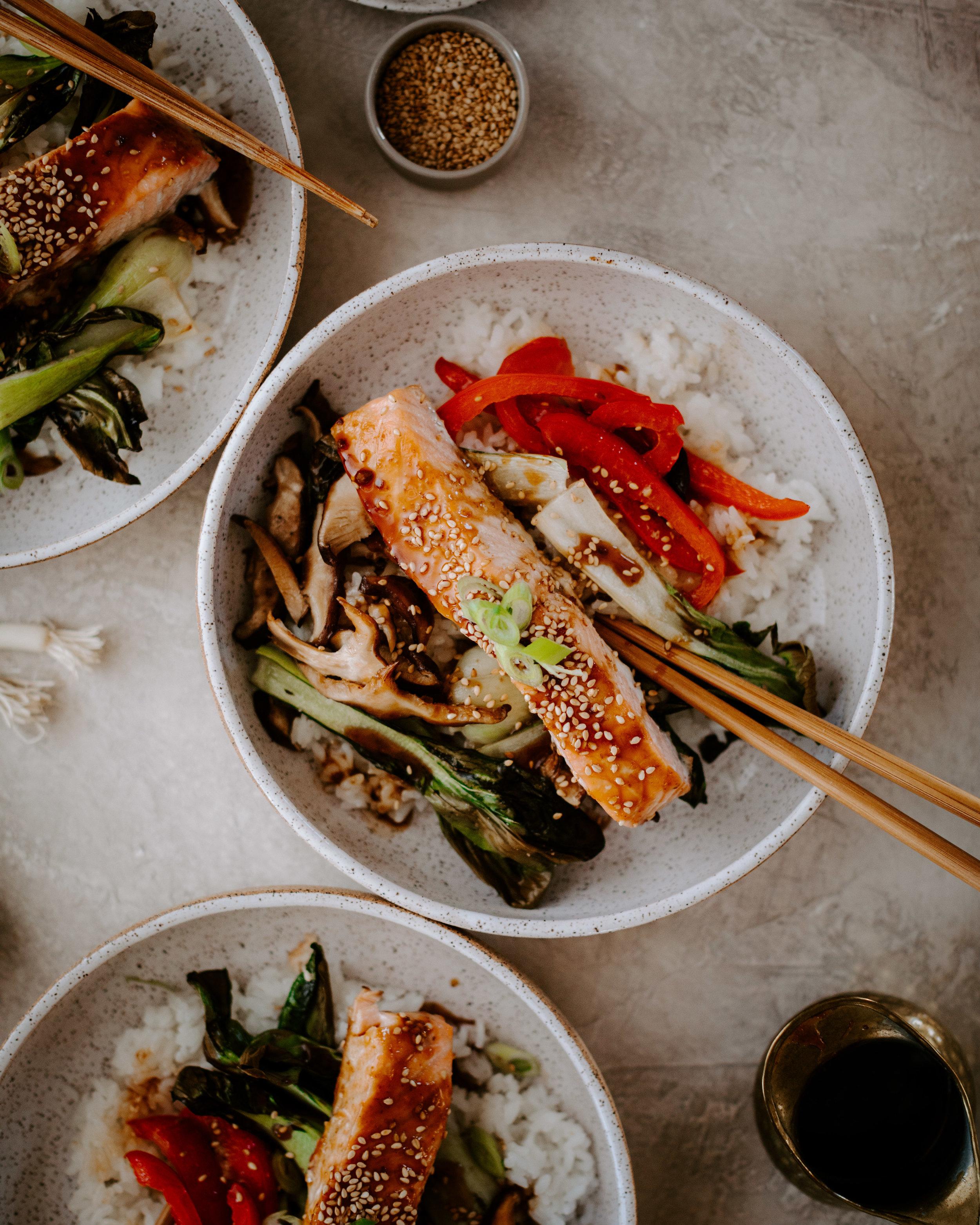 Whole Foods Copycat Teriyaki Salmon & Veggie Rice Bowls