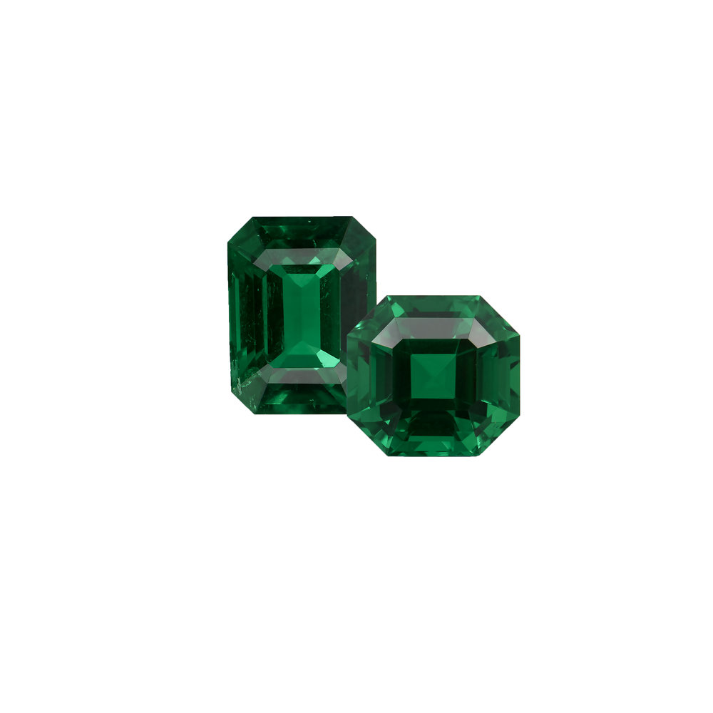Two beautiful four carat no oil Colombian emeralds