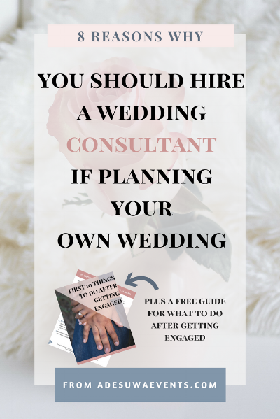A wedding consultant will coach you on how to plan your wedding successfully.