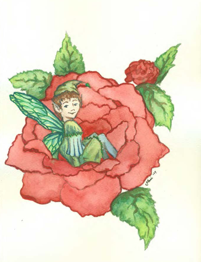 Alphie, the Rose Elf. Concept artwork by Marie Noel Bencivenga.