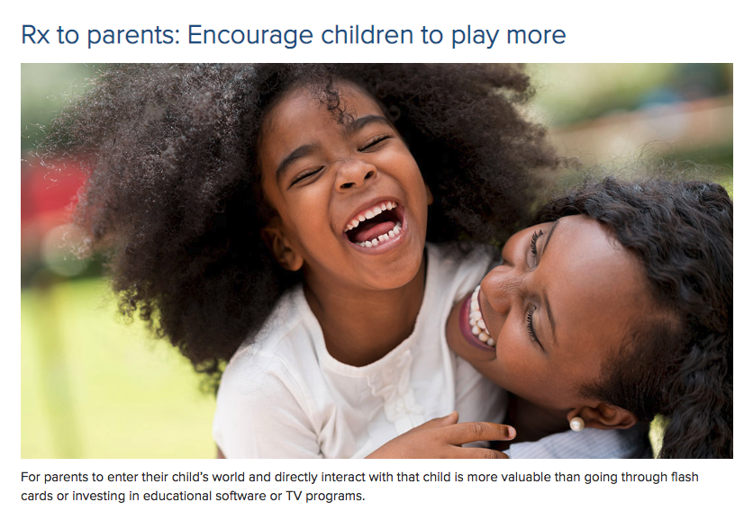 Rx to parents: Encourage children to play more