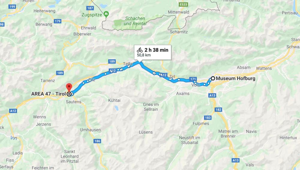 Rennstrecke vom Ötztal nach Innsbruck / Google Maps