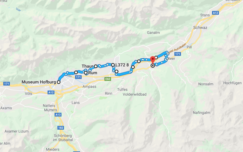 Rennstrecke von Hall-Watterns nach Innsbruck / Google Maps