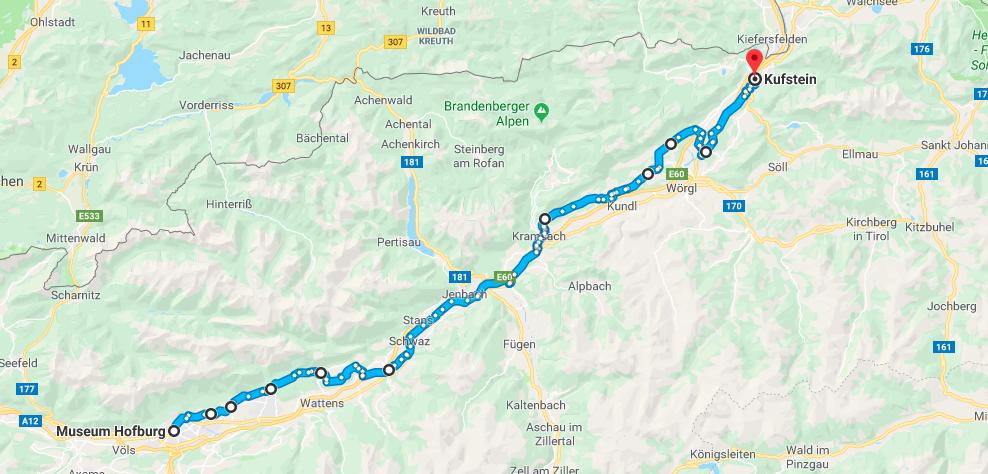 Rennstrecke von Kufstein nach Innsbruck (exklusive Olympiarunde) / Google Maps