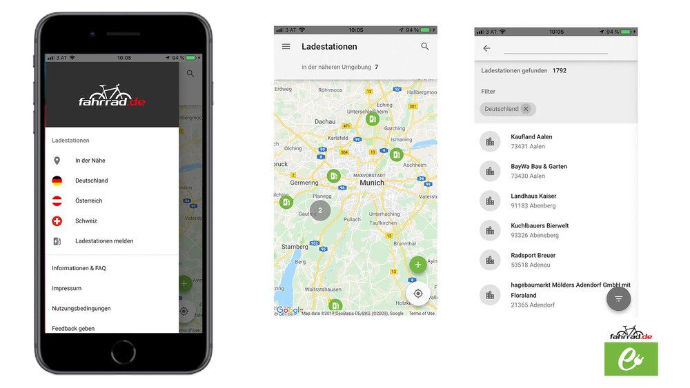 """Immer mit voller Kraft voraus! Die App """" Ladestationen """" von fahrrad.de zeigt dir öffentliche Bike-Ladestationen in deinem Umkreis an, wie hier in München."""