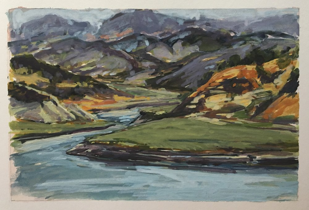 "Looking Across to Cachuma Bay 2016 4"" x 6"" gouache on Arches Board"