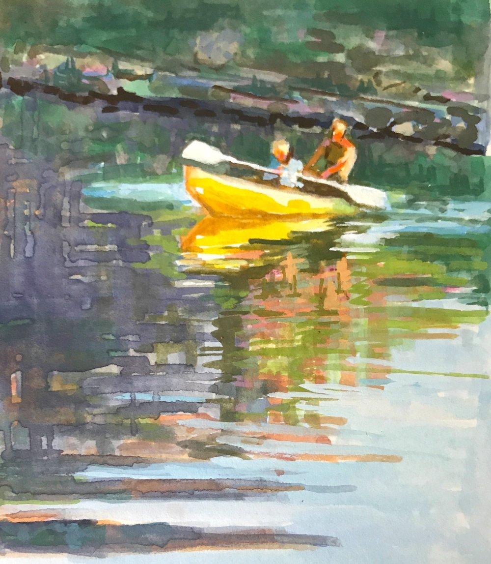 "Yellow Kayak , 3x5"" gouache"
