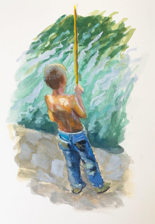 """Fishing , 3x5"""" gouache"""