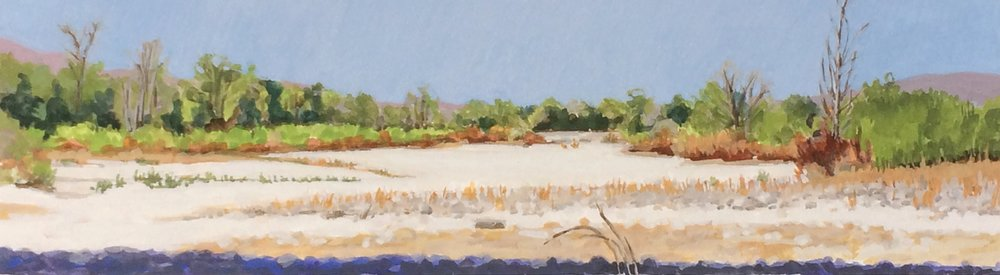 "dry river bed, Alisal Road, gouache, 10 3/4""x3"""