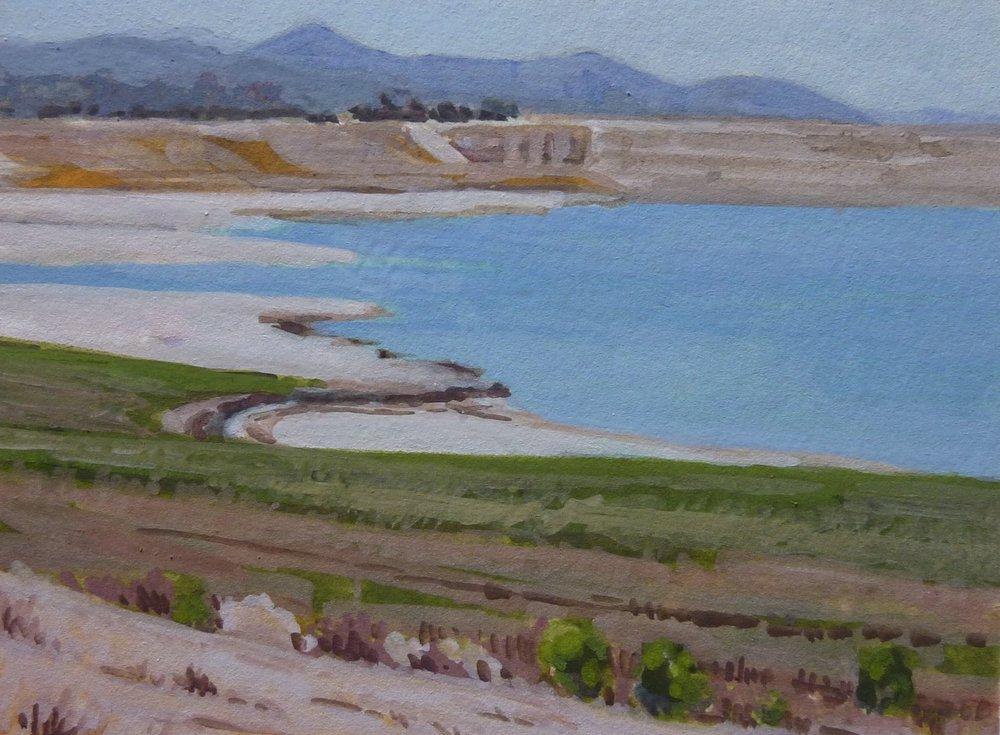 "Bradbury Dam, low lake, August 2016, gouache, 4""x3"""