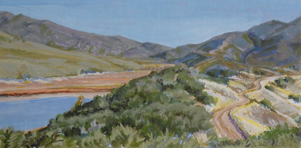 "Murrieta Divide, Jameson Lake, Gouache on archival board, 5""x2 1/2"""