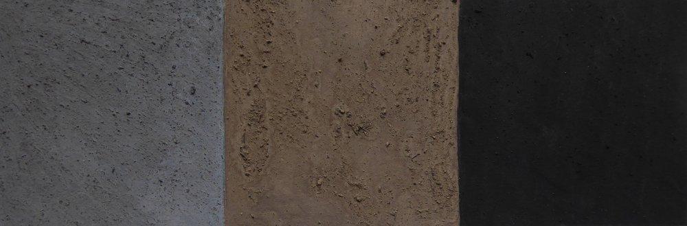 "Nina Warner -ash, mud, soot. 2x6"" gouache with ash, mud and soot, 2018"