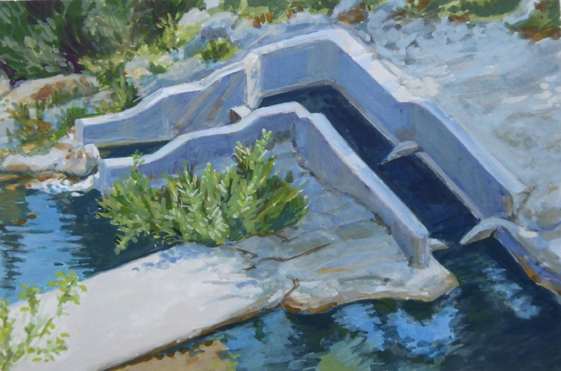 "Jalama Road Fish Passage, gouache, 4""x6"""
