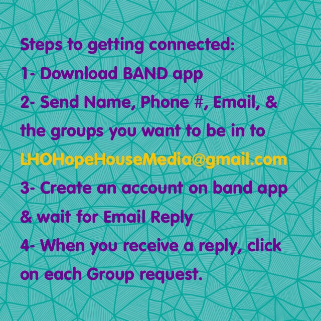 If you want to be involved and stay connected with us, Download the Band App from the App store on your Device, shoot us and email and we will connect you!